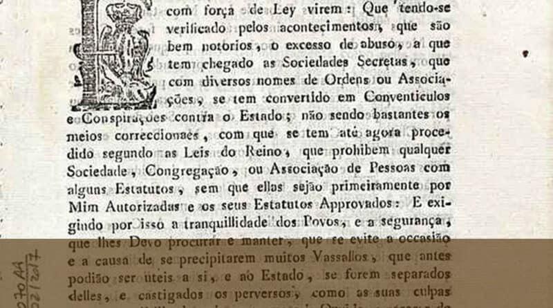 Alvará do Rei D. João VI proibindo Sociedades Secretas
