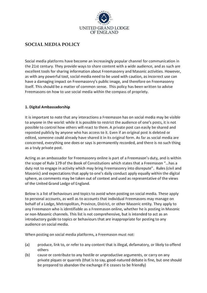 UGLE Social Media Policy 001