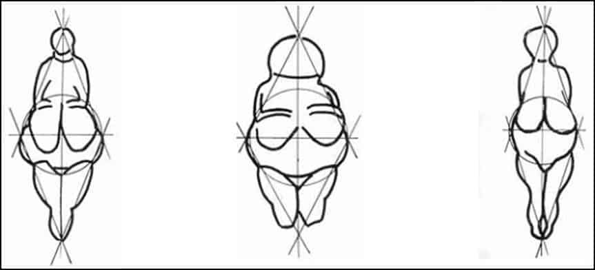 Ilustrações femininas em forma de losango, típicas das deusas Vénus do Paleolítico