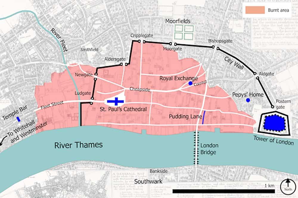 Mapa da área afectada pelo Grande Incêndio de 1666