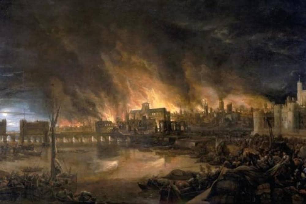 Pintura de autor desconhecido mostra Londres sendo devastada pelo fogo