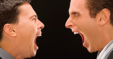 two men shouting