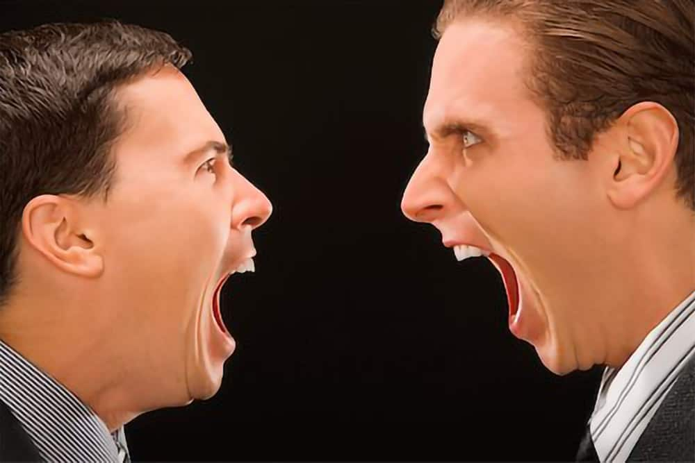 two men shouting