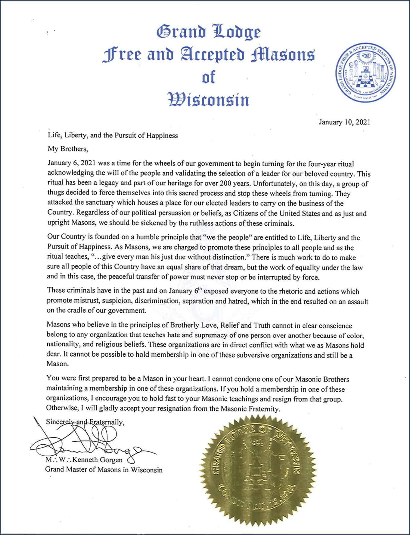 Carta do Grão-Mestre sobre desobediência civil